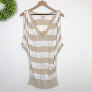Caché Tan Striped Braided Sleeveless Knit Blouse L